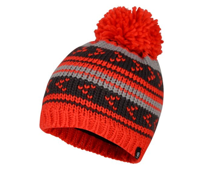 Boys Plucky Striped Bobble Hat Fiery Red Ebony