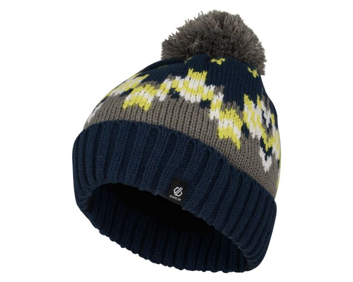 Boys Agitate Bobble Hat Admiral Blue Citron Lime