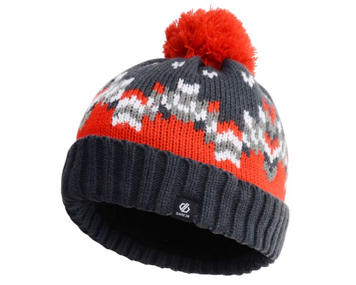 Boys Agitate Bobble Hat Ebony Fiery Red
