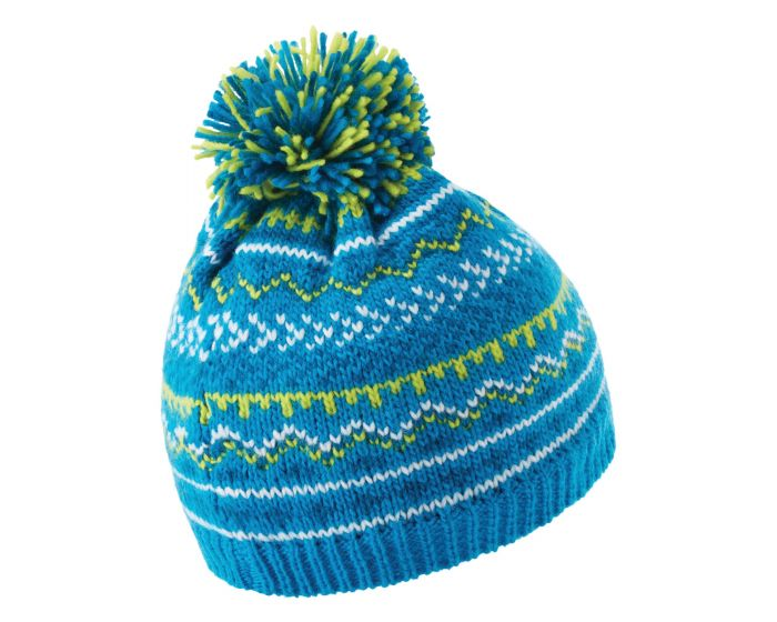 Boys Buzer Fleece Lined Knit Bobble Beanie Methyl Blue Petrol Blue Space Grey