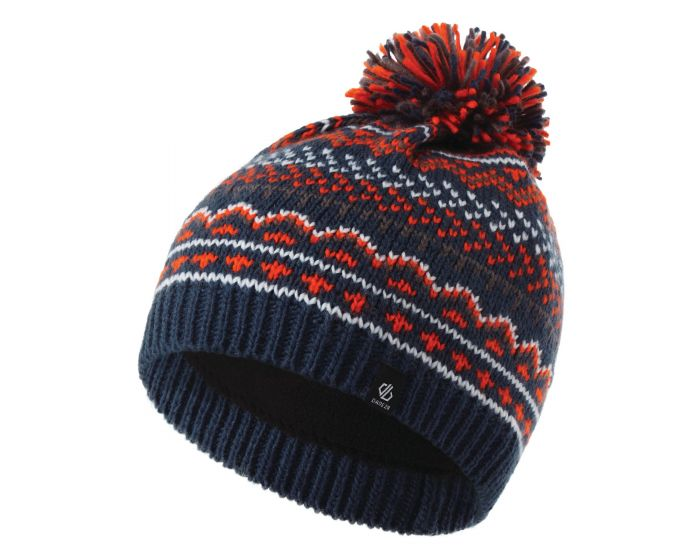 Boys Buzer Fleece Lined Knit Bobble Beanie Dark Denim Blaze Orange Aluminium Grey