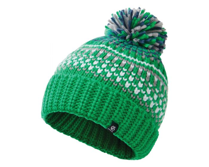 Boys Agitate Ii Fleece Lined Knit Bobble Beanie Vivid Green Space Grey Dark Denim