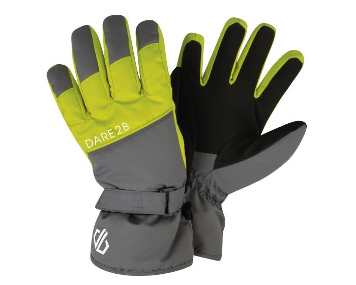 Boys Mischievous Ski Gloves Aluminium Grey Citron Lime