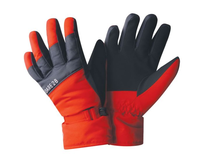 Boys Mischievous Ski Gloves Fiery Red Ebony