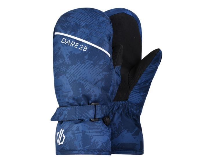 Boys Roaring Ski Mitts Dark Denim Geo Camo Print