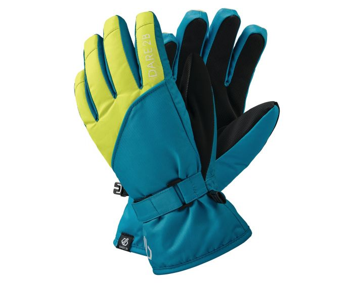 Boys Mischievous Ii Water Repellent Ski Gloves Petrol Blue Lime Punch