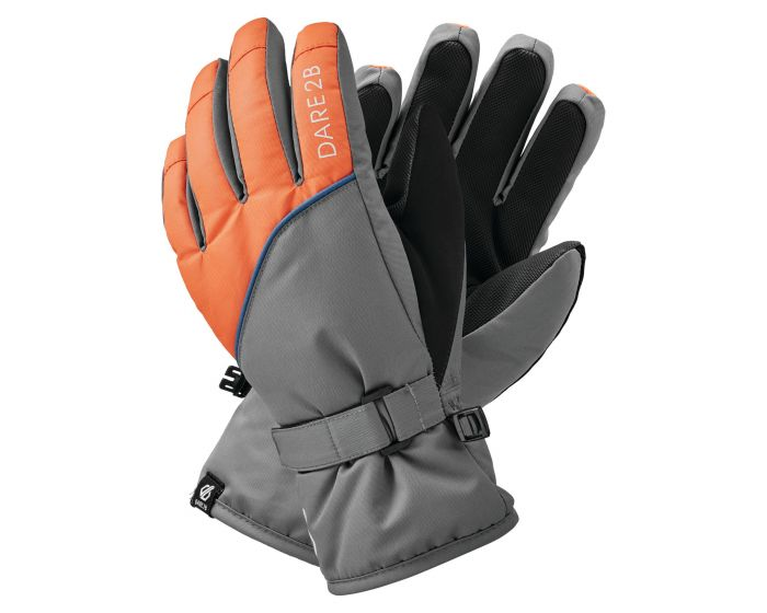 Boys Mischievous Ii Water Repellent Ski Gloves Aluminium Grey Blaze Orange