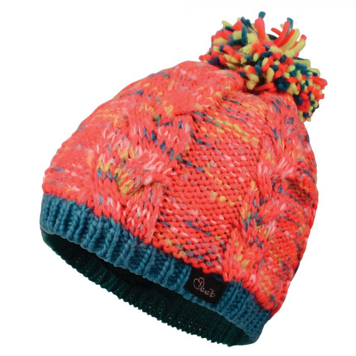 Kids Colour Craze Beanie Hat Fiery Coral