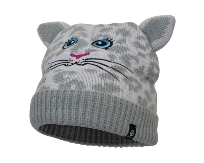 Girls Brainwave Animal Beanie White Snow Leopard