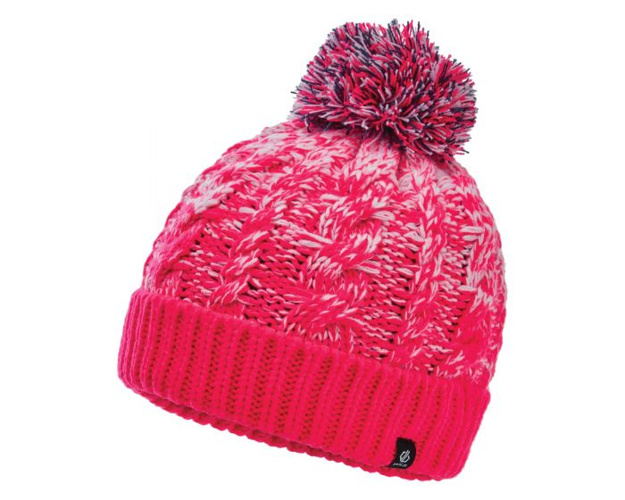 Girls Lively Ii Fleece Lined Knit Bobble Beanie Neon Pink
