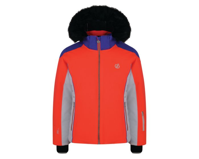 Girls Vast Fur Trimmed Ski Jacket Fiery Coral Simply Purple