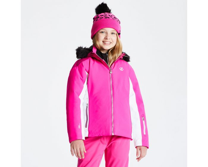 Girls Vast Fur Trimmed Ski Jacket Cyber Pink Fuchsia