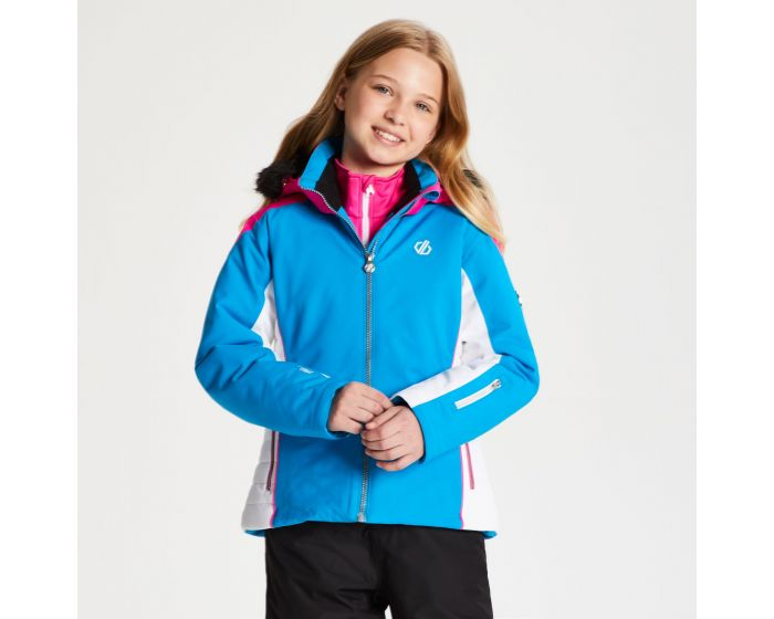 Girls Vast Fur Trimmed Ski Jacket Atlantic Blue Cyber Pink