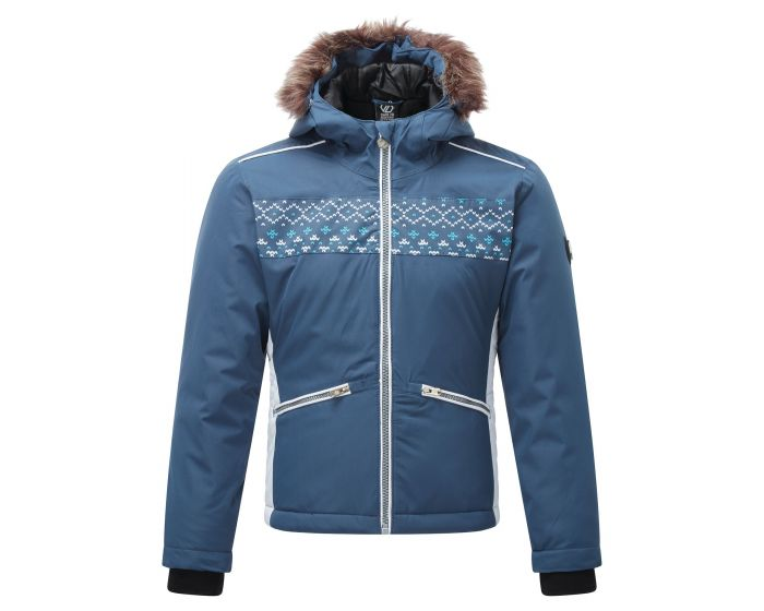 Girls Far Out Waterproof Fur Trim Hooded Ski Jacket Dark Denim