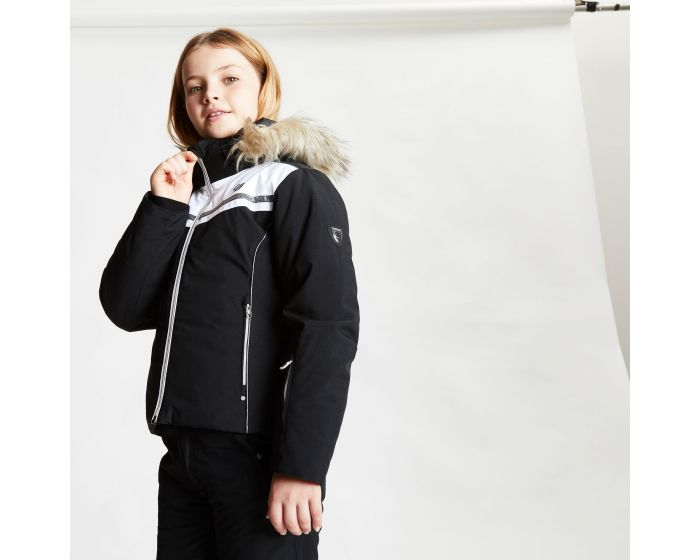 Girls Estimate Waterproof Fur Trim Hooded Ski Jacket Black White