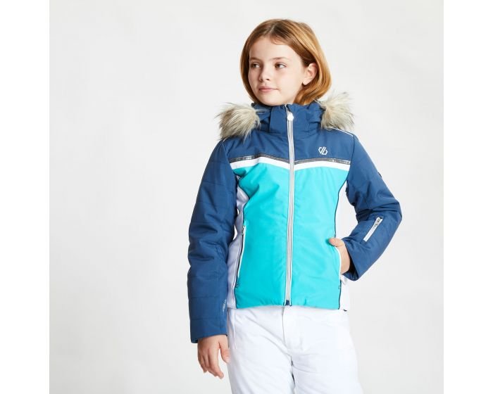 Girls Estimate Waterproof Fur Trim Hooded Ski Jacket Ceramic Blue Dark Denim