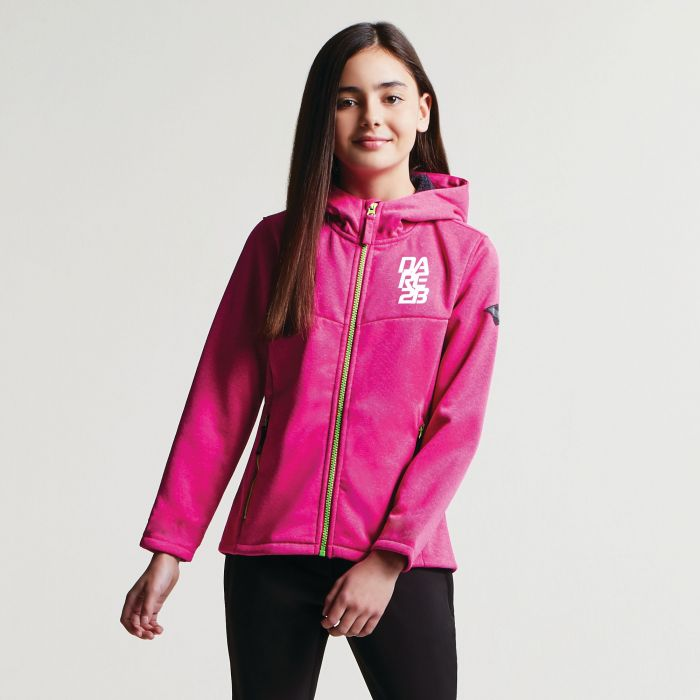 Kids Embed Hooded Softshell Jacket Cyber Pink