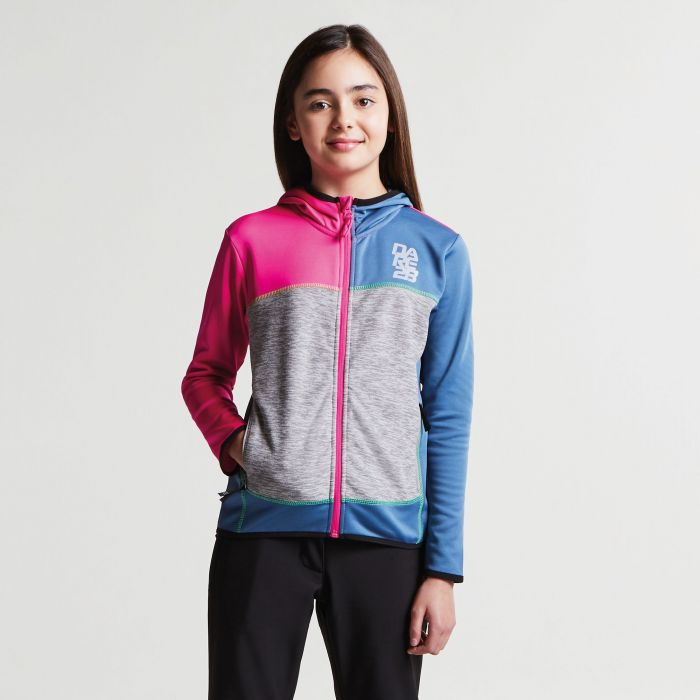 Kids Restate Full Zip Core Stretch Midlayer Cyber Pink Astronomy Blue