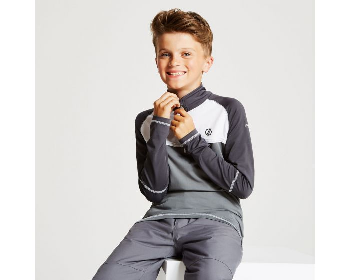 Kids Formate Core Stretch Half Zip Midlayer Aluminium Grey Ebony