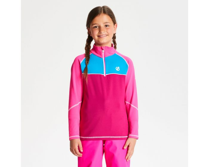 Kids Formate Core Stretch Half Zip Midlayer Fuchsia Cyber Pink