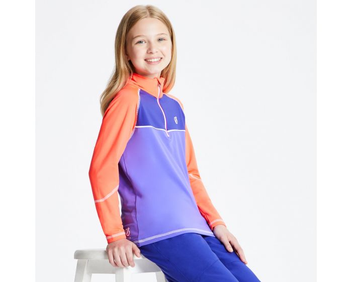 Kids Formate Core Stretch Half Zip Midlayer Simply Purple Fiery Coral