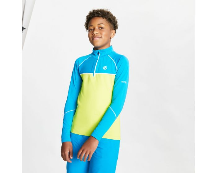 Kids Formate Core Stretch Half Zip Midlayer Methyl Blue Lime Punch