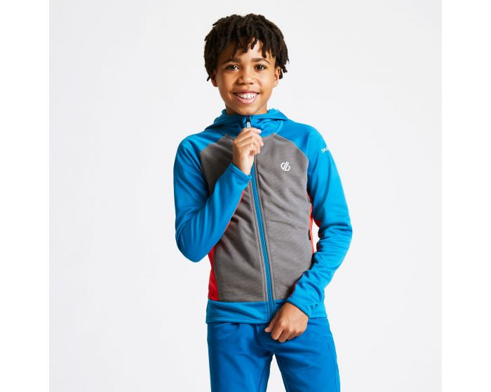 Kids Twofold Hooded Core Stretch Midlayer Petrol Blue Aluminium Grey