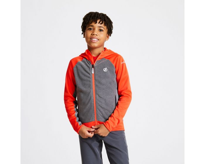 Kids Twofold Hooded Core Stretch Midlayer Trail Blaze Red Ebony Grey