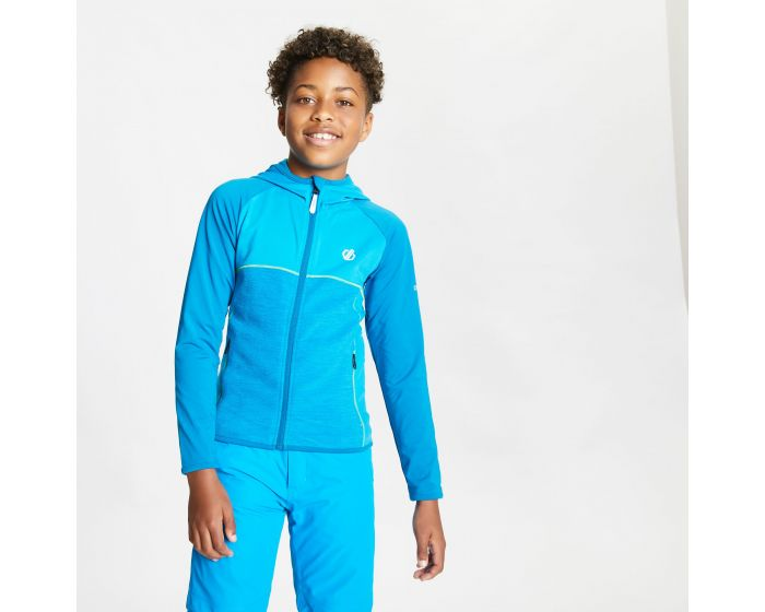 Kids Hasty Full Zip Hooded Lightweight Core Stretch Midlayer Petrol Blue Methyl Blue