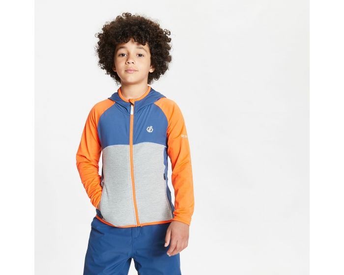 Kids Hasty Full Zip Hooded Lightweight Core Stretch Midlayer Blaze Orange Dark Denim