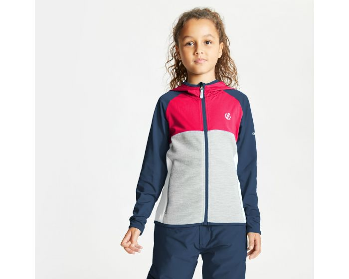 Kids Hasty Full Zip Hooded Lightweight Core Stretch Midlayer Dark Denim Neon Pink