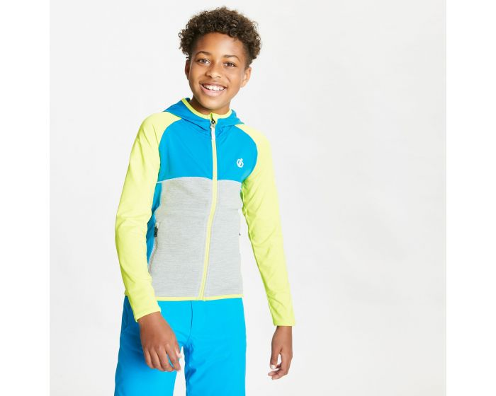 Kids Hasty Full Zip Hooded Lightweight Core Stretch Midlayer Lime Punch Methyl Blue