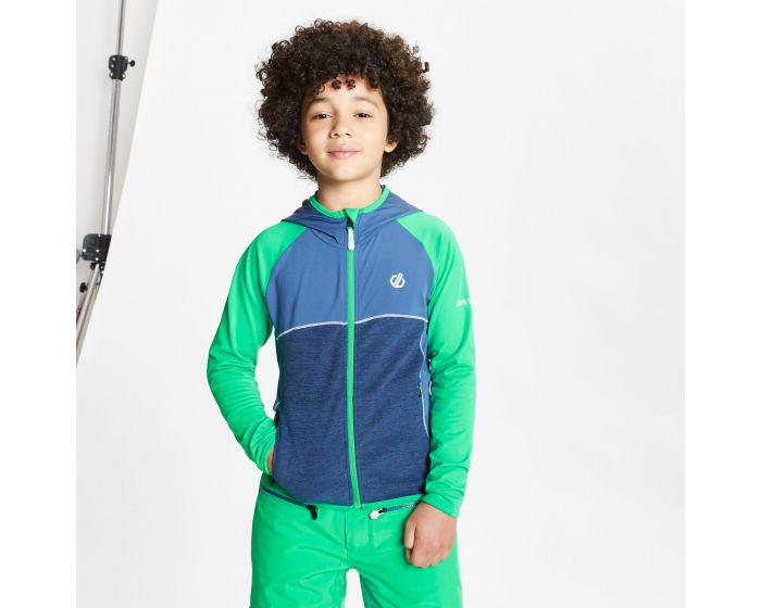Kids Hasty Full Zip Hooded Lightweight Core Stretch Midlayer Vivid Green Dark Denim