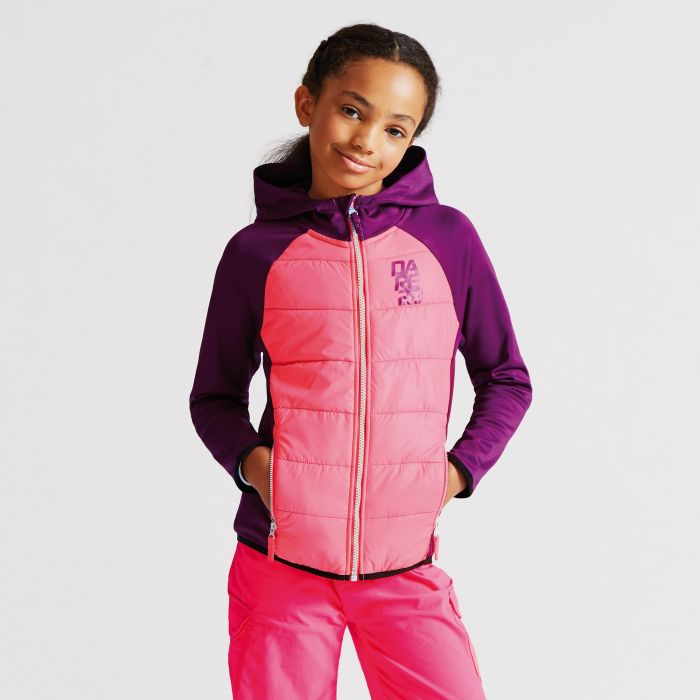 Kids Infused Hybrid Jacket Blackcurrant Purple/Neon Pink