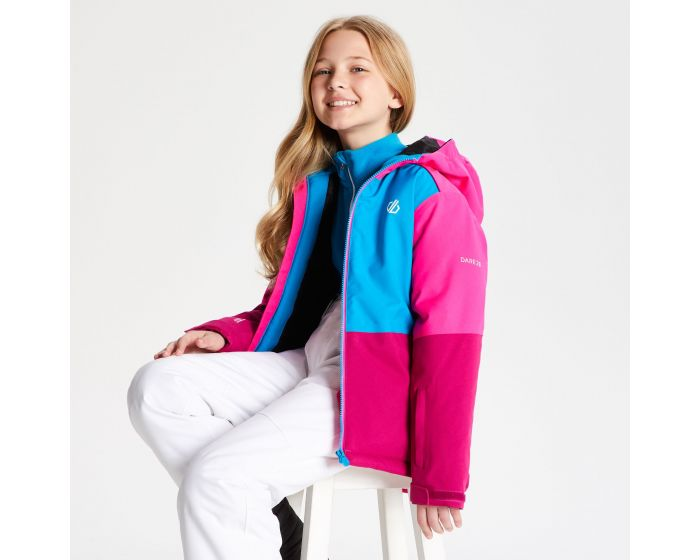 Kids Aviate Ski Jacket Fuchsia Atlantic Blue Cyber Pink
