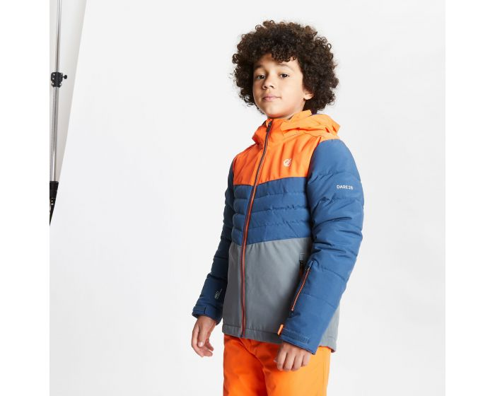Kids Freeze Up Waterproof Insulated Hooded Ski Jacket Blaze Orange Dark Denim