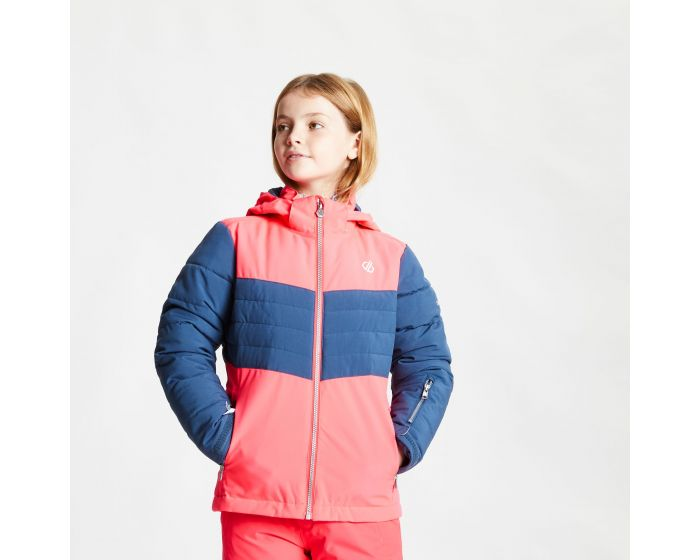 Kids Freeze Up Waterproof Insulated Hooded Ski Jacket Neon Pink Dark Denim