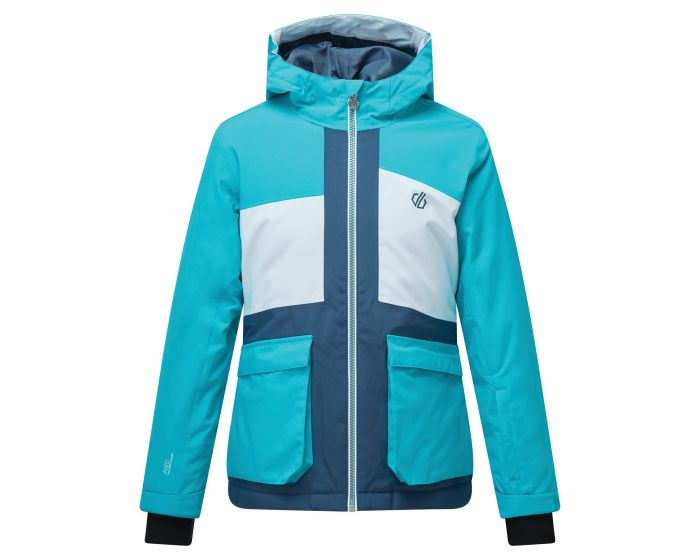 Kids Esteem Waterproof Insulated Hooded Ski Jacket Ceramic Blue White
