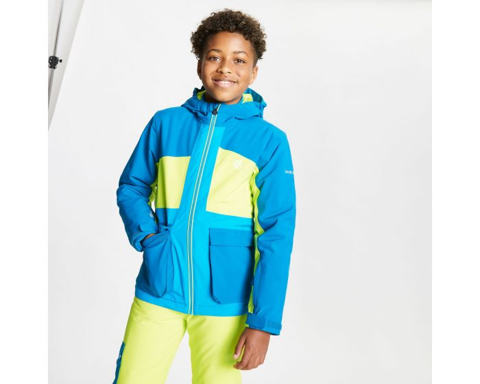Kids Esteem Waterproof Insulated Hooded Ski Jacket Petrol Blue Lime Punch