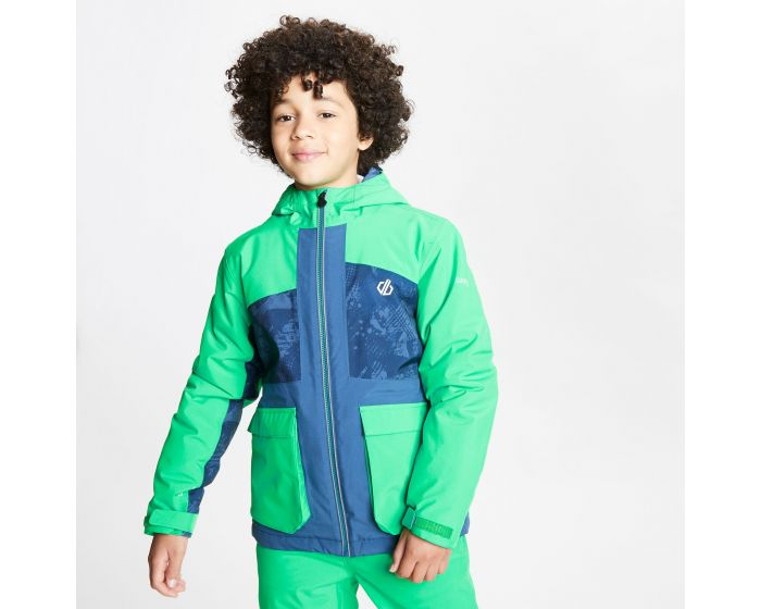 Kids Esteem Waterproof Insulated Hooded Ski Jacket Vivid Green Dark Denim