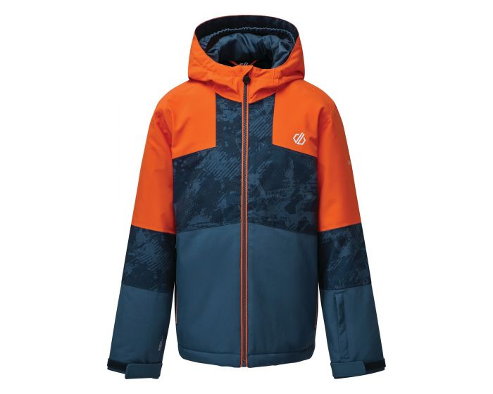 Kids Cavalier Waterproof Insulated Hooded Ski Jacket Blaze Orange Dark Denim