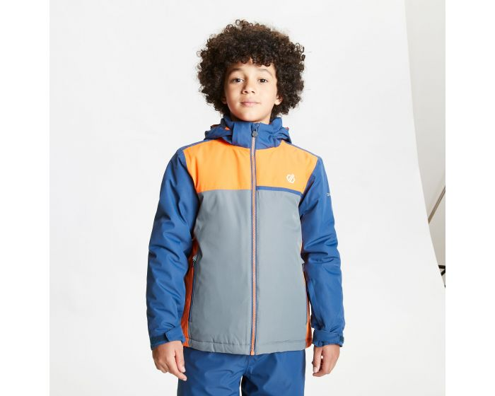 Kids Depend Waterproof Insulated Hooded Ski Jacket Dark Denim Blaze Orange