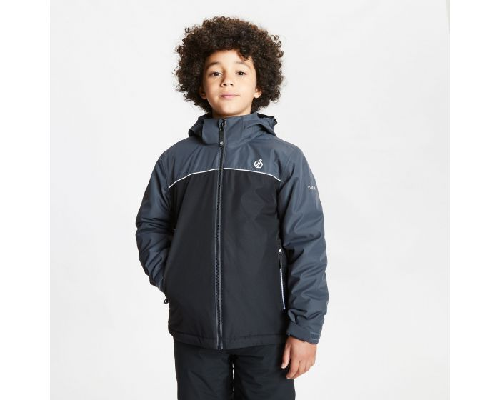 Kids Impose Waterproof Insulated Hooded Ski Jacket Black Ebony Grey