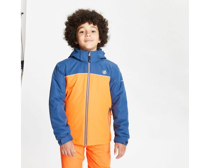 Kids Impose Waterproof Insulated Hooded Ski Jacket Blaze Orange Dark Denim