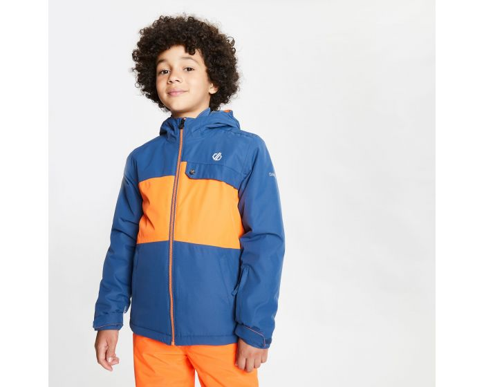 Kids Enigmatic Waterproof Insulated Hooded Ski Jacket Dark Denim Blaze Orange