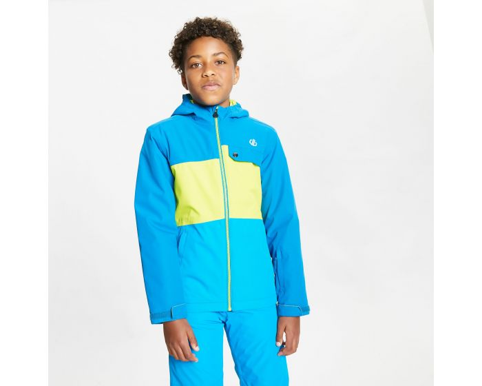 Kids Enigmatic Waterproof Insulated Hooded Ski Jacket Petrol Blue Lime Punch