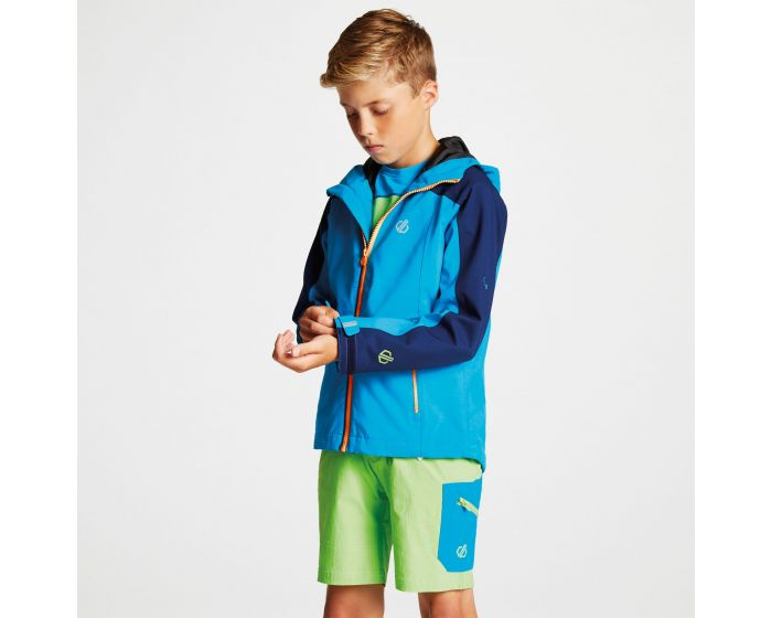 Kids Avail Seamsmart Lightweight Hooded Waterproof Jacket Atlantic Blue Clear Water