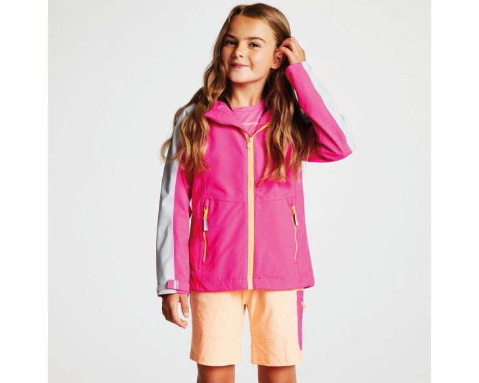 Kids Avail Seamsmart Lightweight Hooded Waterproof Jacket Cyber Pink Argent Grey
