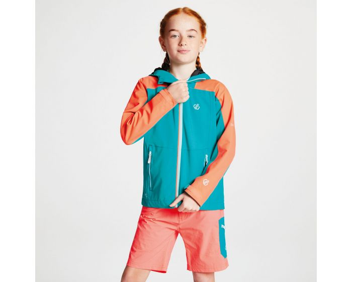 Kids Avail Seamsmart Lightweight Hooded Waterproof Jacket Caribbean Green Fiery Coral