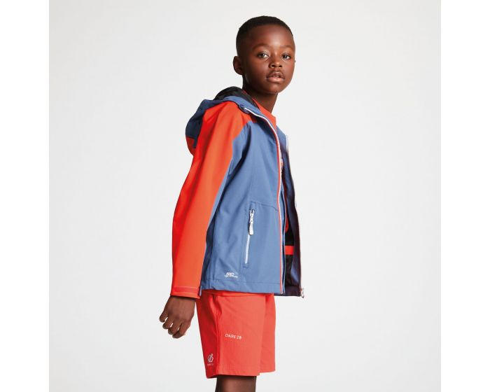 Kids Avail Seamsmart Lightweight Hooded Waterproof Jacket Meteor Grey Cajun Orange